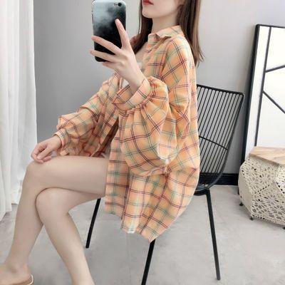 夏季新款大码格子衬衫女学生韩版宽松薄款休闲百搭灯笼袖上衣外套