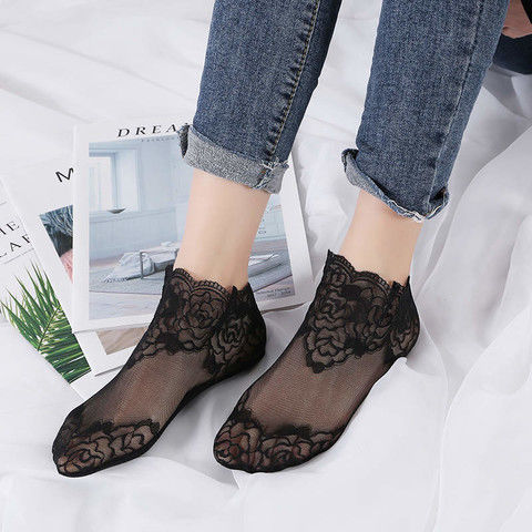 袜子女短袜蕾丝薄款春夏季韩国花边袜百搭中筒时尚潮流短筒女袜
