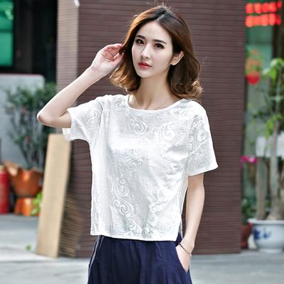 刺绣全棉短袖T恤女装夏季宽松大码半袖上衣百搭文艺全棉白色体恤
