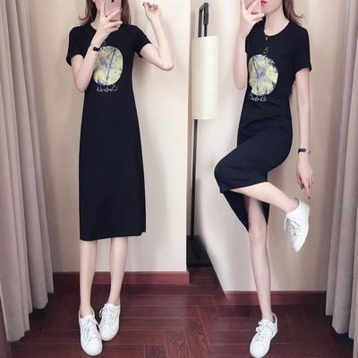 A07韩版休闲连衣裙2019夏季新款女装气质时尚修身中长款宽松T恤裙