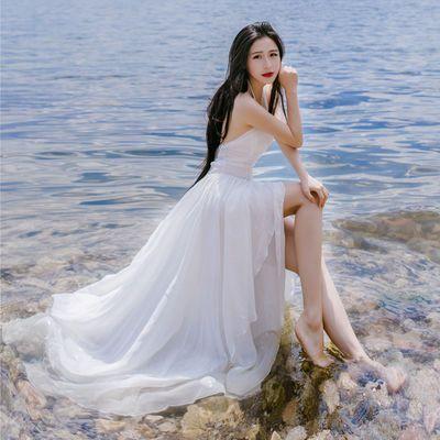 白色仙女大摆长裙夏马尔代夫海边度假沙滩裙性感吊带不规则连衣裙