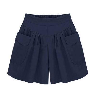 欧美夏季新款大码女装特加肥加大码热裤宽松显瘦松紧高腰阔腿短裤