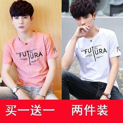2件装新款夏季男士短袖t恤男圆领修身体恤韩版半袖男装潮流打底衫