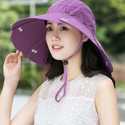 防晒帽子女夏天户外太阳帽遮阳帽可折叠渔夫帽男防紫外线大檐盆帽