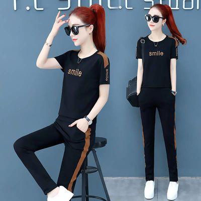 运动套装女韩版夏季新款宽松大码女装短袖时尚跑步休闲两件套女潮
