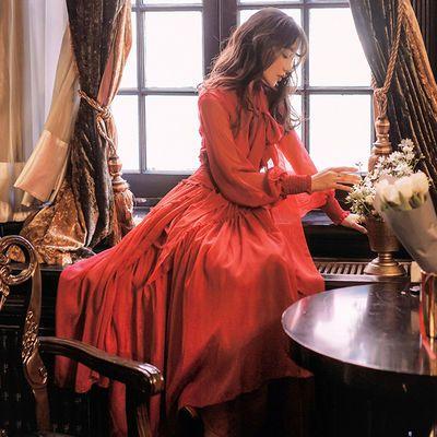 新款复古西藏茶卡湖酒红色雪纺气质连衣裙灯笼袖沙漠写真大摆长裙