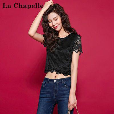 拉夏贝尔candie's夏季新款韩版气质短袖显瘦短款蕾丝衫女30072782