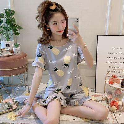 短袖睡衣女夏季韩版大码甜美宽松清新学生宽松可爱家居服两件套装