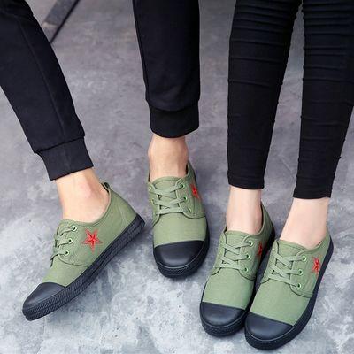 春夏季男鞋运动休闲鞋帆布鞋军绿解放鞋男女学生平底五角星雷锋鞋