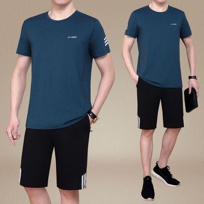 中老年运动套装夏季爸爸男士跑步运动服短袖短裤男士休闲运动套装