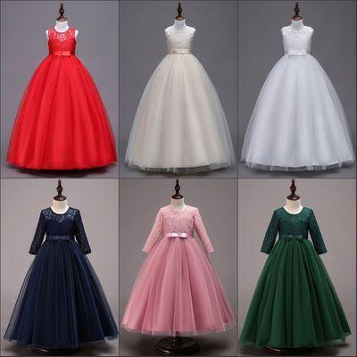 儿童装公主背心裙女童连衣裙蕾丝婚礼服饰走秀主持长裙红白香槟紫
