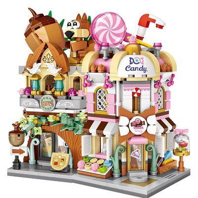 Loz小颗粒diy小屋 Street Mini迷你积木拼装街景展示盒糖果店游戏