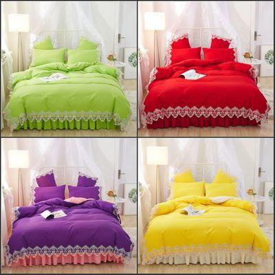 韩版公主风蕾丝花边床裙四件套纯色席梦思床垫套1.5床1.8床笠被套