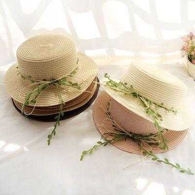 2019新款藤条草帽女夏天帽子户外遮阳沙滩帽亲子防晒帽折叠太阳帽