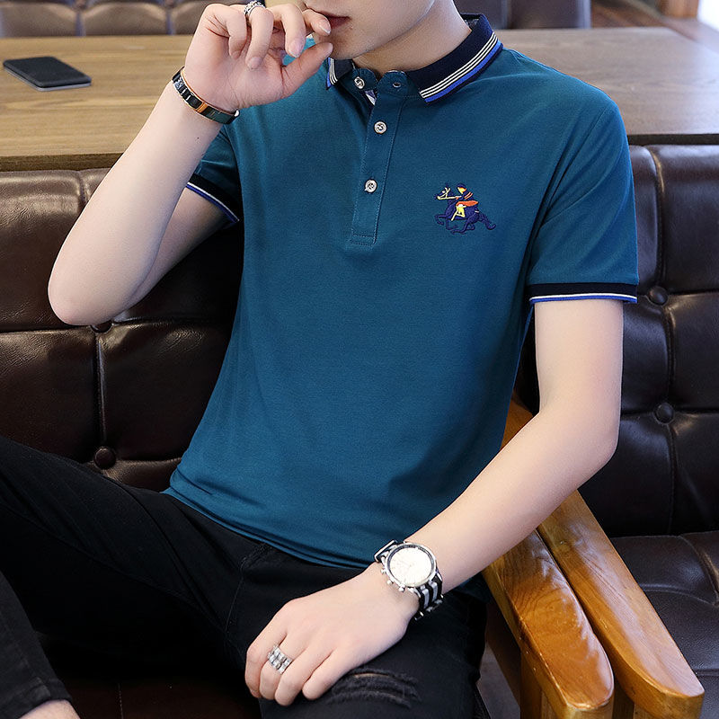 2019 Casual Short Sleeve 95 Cotton T-shirt Men's Polo Shirt Hong Kong Style Standing Collar Trend Youth Summer Half Sleeve Lapel [issued On February 14]