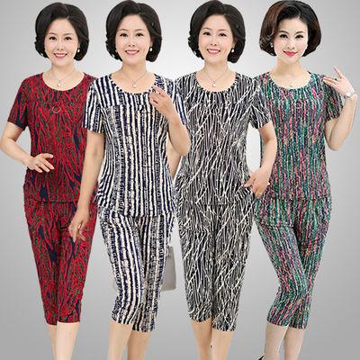 中老年女装夏装套装妈妈装冰丝两件套奶奶装服装老年女装夏季衣服