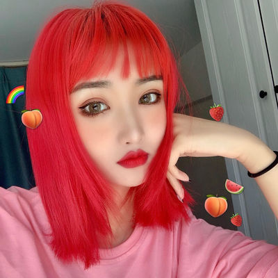 大红橘色假发男女空气刘海中长直发全头套式短发个性lolita锁骨发