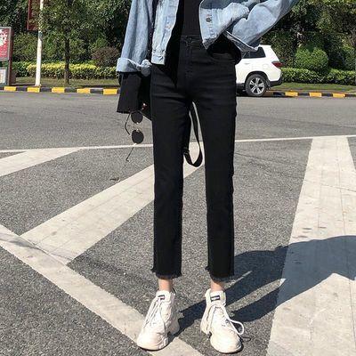 牛仔裤女直筒2019春装新款高腰黑色显瘦百搭宽松阔腿九分cec裤子