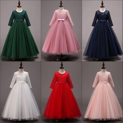 儿童公主裙中长袖女童蕾丝婚纱礼服主持长裙子生日红白粉绿连衣裙