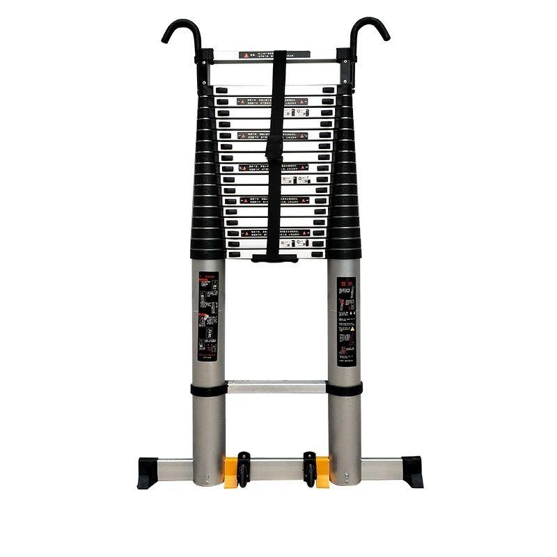 加多奇加厚铝合金加长管带钩子单面伸缩梯便携式家用带轮子伸缩梯