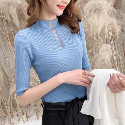 【冰爽透气】2020夏季镂空针织衫女修身纯色半高领五分袖打底衫