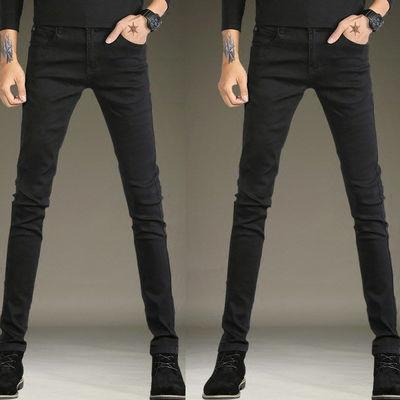夏季牛仔裤男薄款弹力韩版潮流修身小脚纯黑铅笔裤学生全黑小腿裤