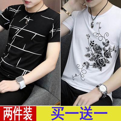 男士夏天短袖t恤圆领夏季潮流衣服男装半袖上衣修身韩版学生潮流