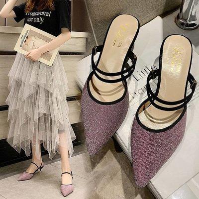 一鞋两穿女凉鞋夏季2019新款韩版百搭包头猫跟尖头高跟鞋细跟女鞋