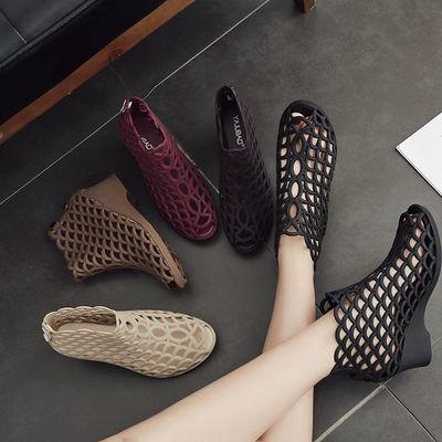夏季女士韩版高帮鱼嘴高跟凉鞋坡跟防滑高帮果冻鞋网状镂空妈妈鞋
