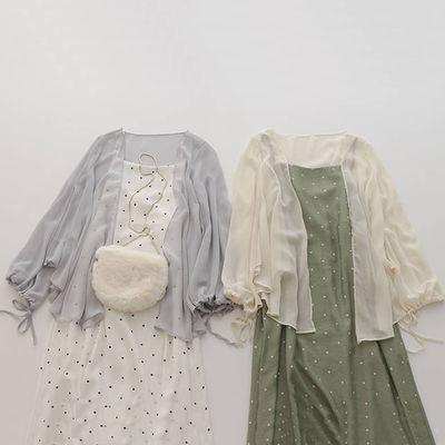 单件/套装学生韩版连衣裙新款宽松两件套小清新防晒衣吊带裙女夏