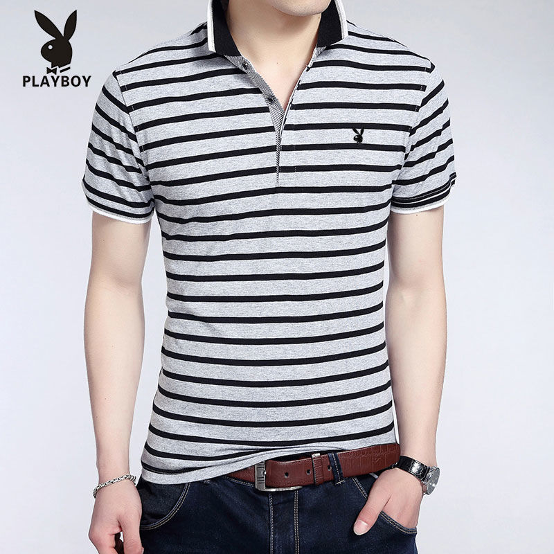 Playboy Middle Aged Men's Cotton Short Sleeve T-Shirt Stripe Half Sleeve Lapel T-shirt Men's Korean Slim Polo
