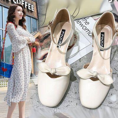 网红包头凉鞋仙女风学生百搭2020新款韩版夏季一字扣带中空单鞋女