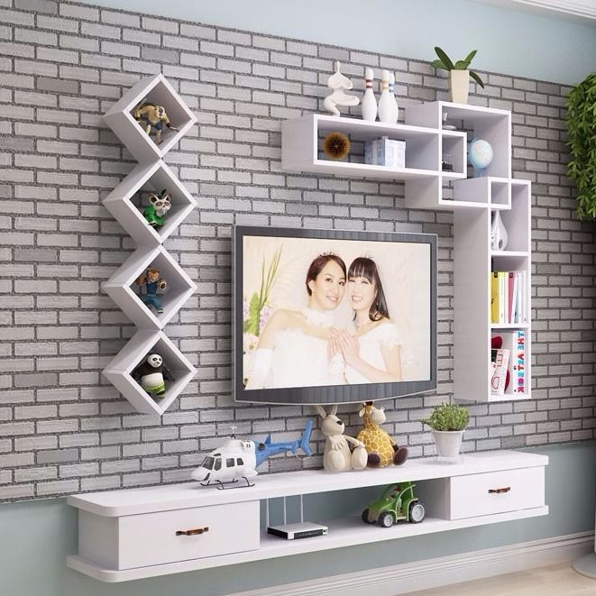 Buy New Tv Background Wall Decoration Shelf Wall Mounting Shelf
