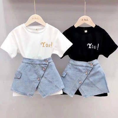韩版童装女童字母中长款短袖T恤裙+牛仔短袖两件套2020夏儿童套装