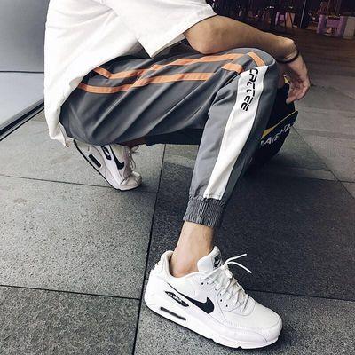 夏季韩版潮流休闲裤男士修身束脚裤学生大码运动裤男装新款九分裤