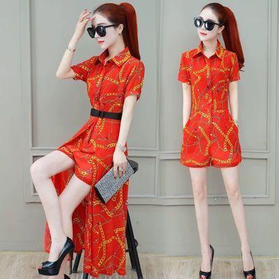 2020夏季女装新款印花短袖中长款连衣裙女士韩版修身裙子三件套潮