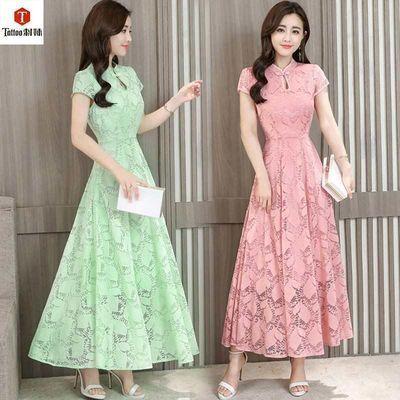 【刺妹】2020新款修身复古蕾丝改良旗袍冷淡风中长款连衣裙8008