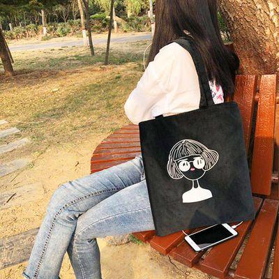 帆布包女学生韩版斜挎单肩包新款呢绒装书袋百搭手提袋购物袋女包