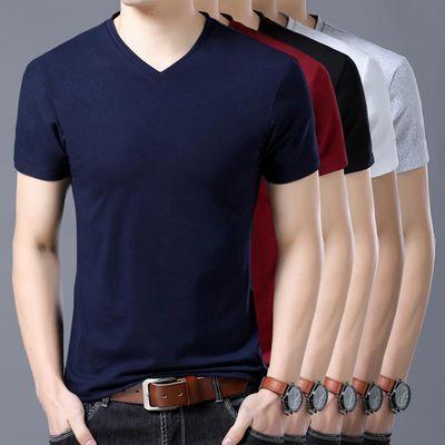 短袖T恤男士V领纯色修身纯色休闲上衣鸡心领�B��衫夏天短袖同款
