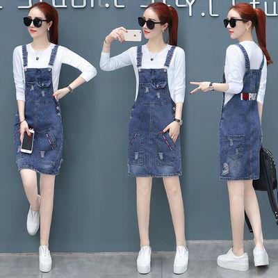 A06牛仔背带裙2019新款女装春装韩版春季中长款连衣裙两件套套装