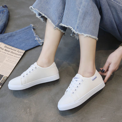 帆布鞋2020春夏新款鞋子女学生韩版百搭平底布鞋休闲原宿风小白鞋