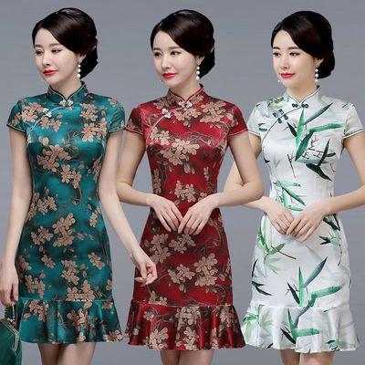 桑蚕丝包臀旗袍裙改良夏季新款鱼尾真丝小清新改良真丝日常连衣裙