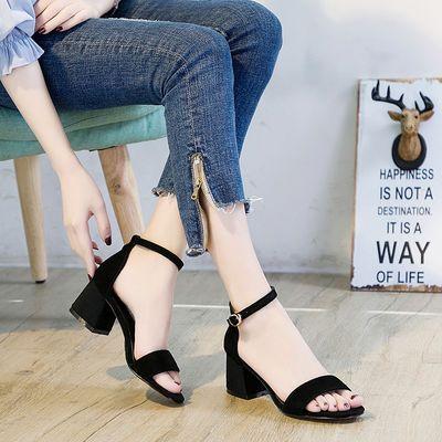 凉鞋女胖脚宽脚大码41--43夏2020新款中粗跟仙女风真皮加肥女凉鞋