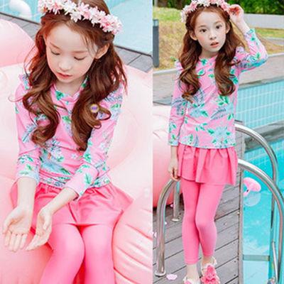 【带泳帽】儿童泳衣女分体三件套中小童长袖防晒游泳衣韩版泳装
