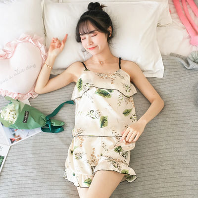 睡衣女夏季带胸垫女士冰丝绸性感吊带仿真丝家居服女学生两件套装