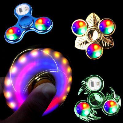 彩色高档带灯发光指尖陀螺成人减压电镀夜光儿童手指陀螺玩具批发