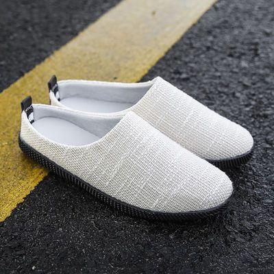 夏季一脚蹬懒人鞋男鞋子韩版潮流北京布鞋男士拖鞋休闲亚麻帆布鞋