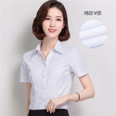 白衬衫女短袖长袖宽松夏装半袖工作服正装工装大码衬衣职业女装ol
