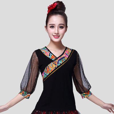 广场舞服装新款上衣莫代尔短袖民族风舞蹈服装中袖灯笼袖跳舞衣服