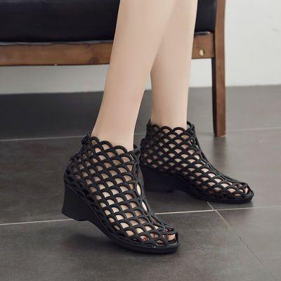 韩版女士优雅高帮鱼嘴高跟凉鞋坡跟防滑高帮果冻鞋网状镂空妈妈鞋